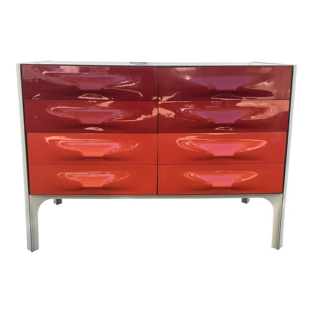 Raymond Loewy Red and White Space Age Df2000 Dresser For Sale
