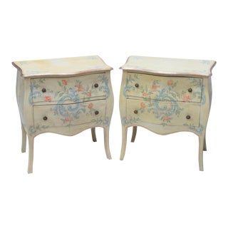 Venetian Style Paint Decorated Side Tables - A Pair