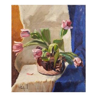 'Pink Tulips in a Copper Kettle' by Gunnar Bundgaard, Mid-Century Danish Modernist Still Life, Copenhagen For Sale
