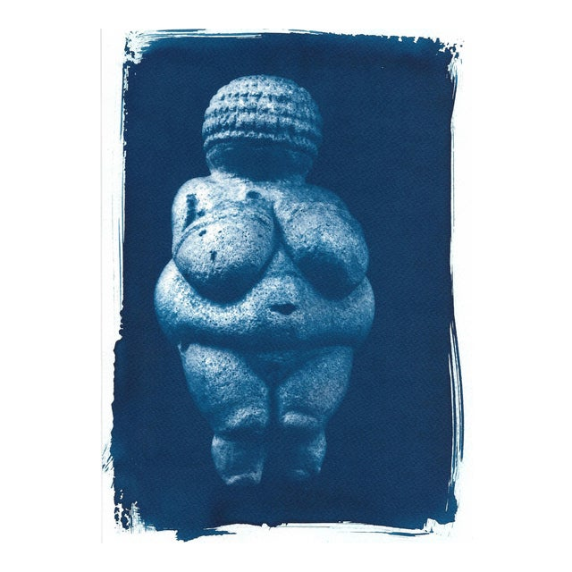 Venus of Willendorf Pre-historic Sculpture, Cyanotype on Watercolor Paper, A4 size (Limited Edition) For Sale