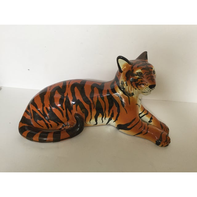 "We love animal figures. This Italian tiger is no exception. This large tiger measures 15 1/2"" long and 8"" high and wide...."