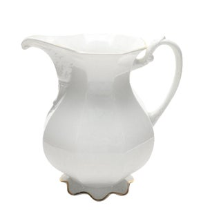 Large White Ironstone Pitcher by w.s. George Pottery