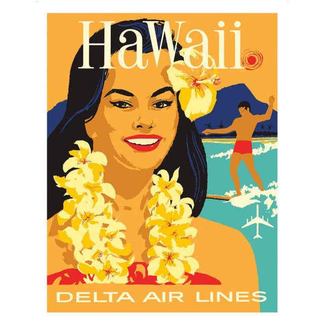 Matted and Framed Vintage Hawaii Travel Poster - Image 3 of 4