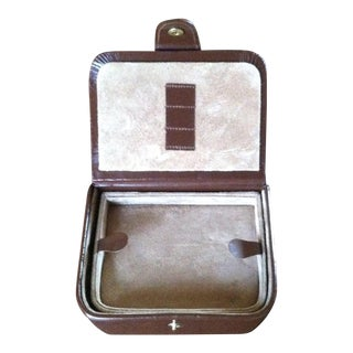 1960s English Leather and Suede Gentleman's Jewelry and Grooming Travel Kit For Sale
