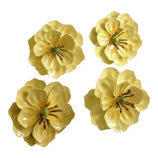 Vintage Flower Tole Napkin Rings - Set of 4 For Sale