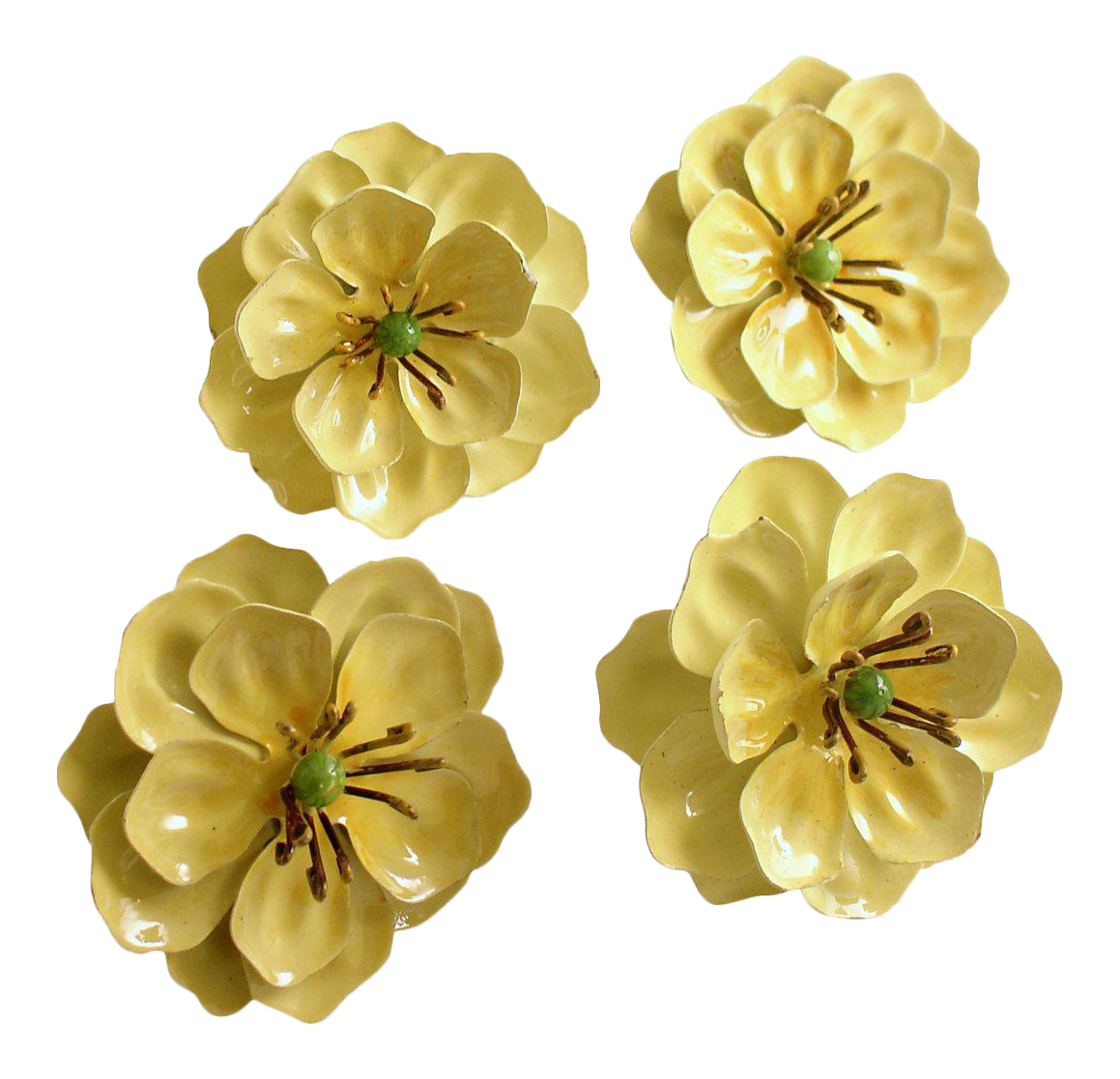 Vintage Flower Tole Napkin Rings Set Of 4 Chairish