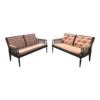 Mid Century Neoclassical Henredon Kindel Baker Wood Cane Settees- A Pair For Sale