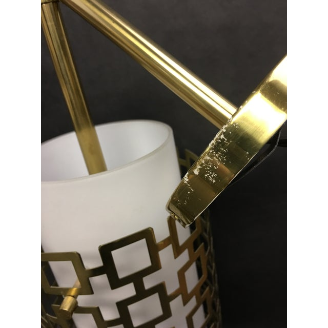 Cylinder Pendant Light With Brass Fretwork - a Pair For Sale In Washington DC - Image 6 of 8