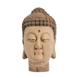 Vintage Wood Buddha Head For Sale