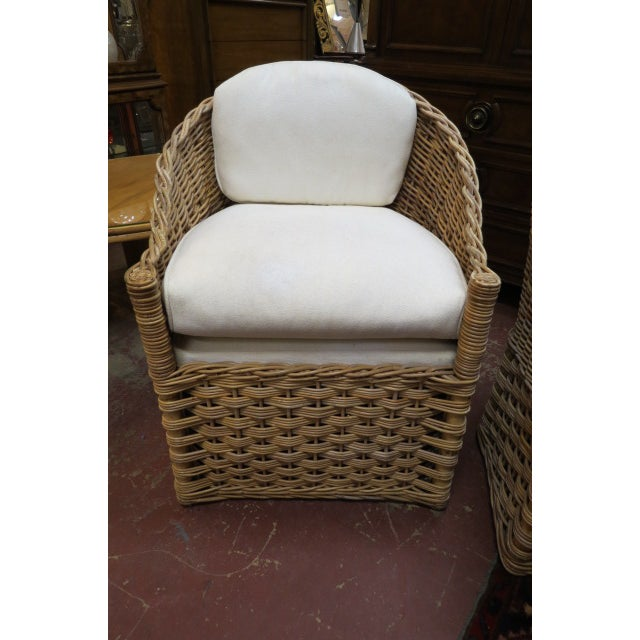 Wicker Vintage Boho Chic. Wicker Dining Set With Marble Top - 5 Pieces For Sale - Image 7 of 8