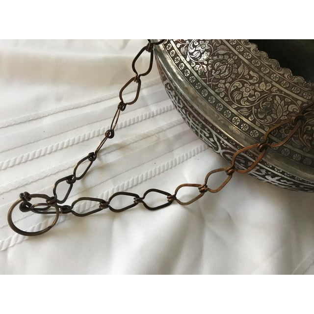 Mid 20th Century Vintage Turkish Ornate Oval Hanging Brazier Planter For Sale - Image 5 of 9