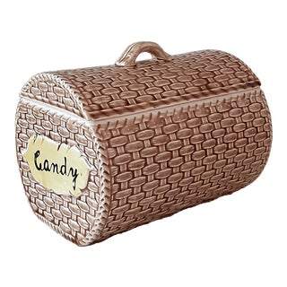 Mid Century Basketweave Lidded Candy Box For Sale