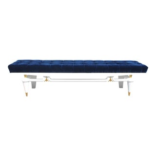 Monumental French Art Deco Snow White Lacquered Long Sitting Bench, circa 1940s. For Sale