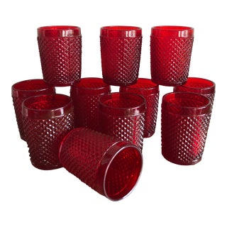 Vintage Ruby Red English Hobnail Glassware Tumblers Old Fashioned Glass Barware Set of 11 For Sale