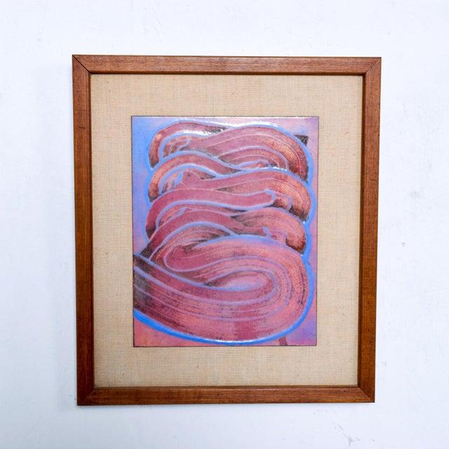 Metal Mid Century Modern Abstract Enamel Art, Framed, Pedro Coronel Era For Sale - Image 7 of 7