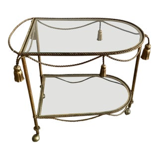 1970s Italian Tassel and Rope Brass Bar Cart For Sale