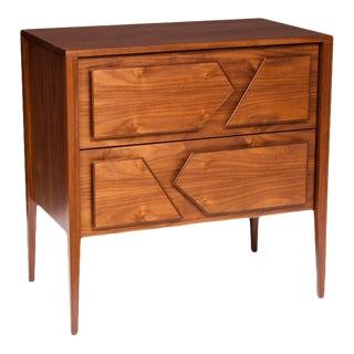 Armia Two Drawer Walnut Dresser For Sale