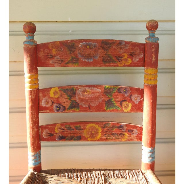 Folk Art Vintage Painted Mexico Folk Art Rush Seat Chairs - a Pair For Sale - Image 3 of 11