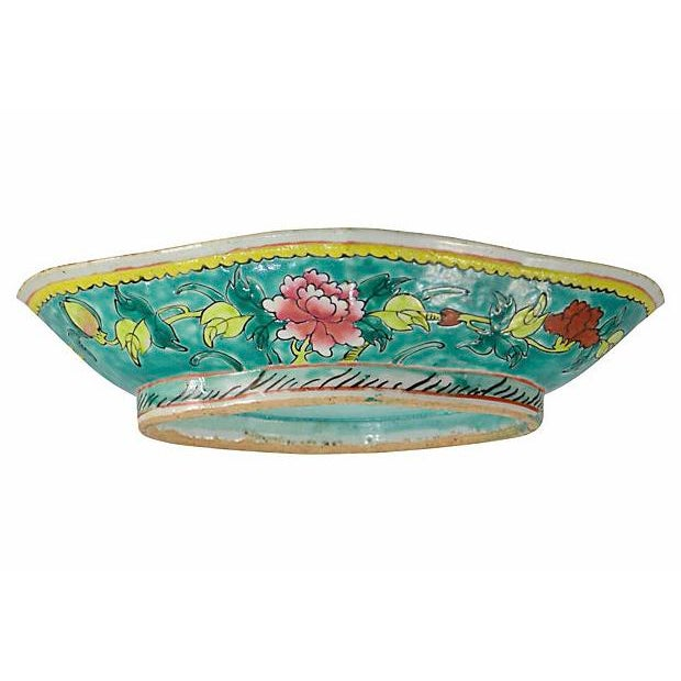 Large 10 inch Chinese stoneware quatrefoil pedestal console bowl with hand painted floral design in iron red, chartreuse...