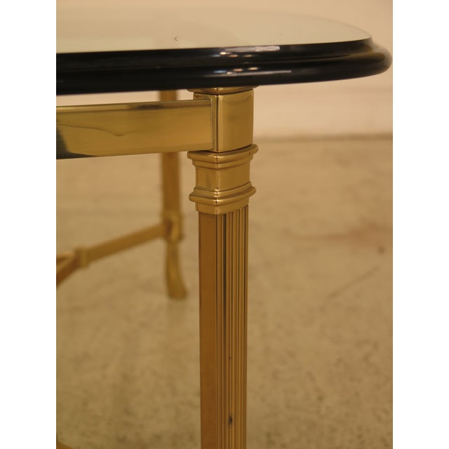 La Barge Labarge Glass Top Brass Base Coffee Table For Sale - Image 4 of 10