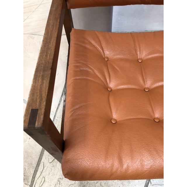 1960s Mid Century Modern Leather Chairs- a Pair For Sale - Image 5 of 9