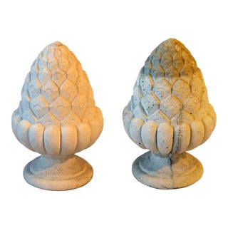 Late 20th Century Traditional Cast Stone Finials - a Pair For Sale