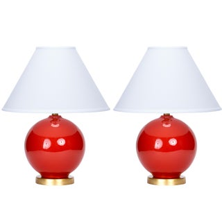 Casa Cosima Sphere Table Lamp, Persimmon/Ivory Shade, a Pair For Sale