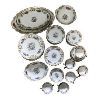 Royal Bayreuth Gilded Spring Floral Dinnerware - Set of 86 For Sale