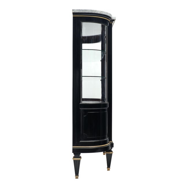 Black Louis XVI Style Antique Mahogany Argentier With Carrara Marble Top For Sale - Image 8 of 10