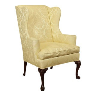 Hickory Chair Vintage Solid Mahogany Queen Anne Wing Chair For Sale