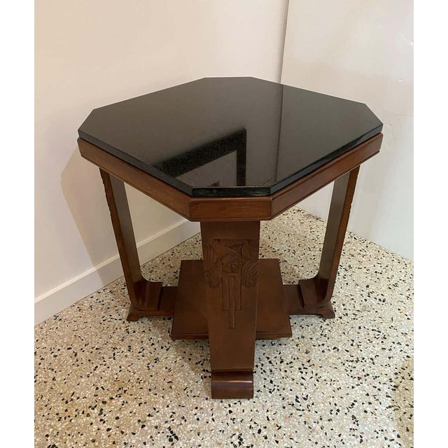 Art Deco American Art Deco Side Table With Polished Black Granite Top 1930s For Sale - Image 3 of 11