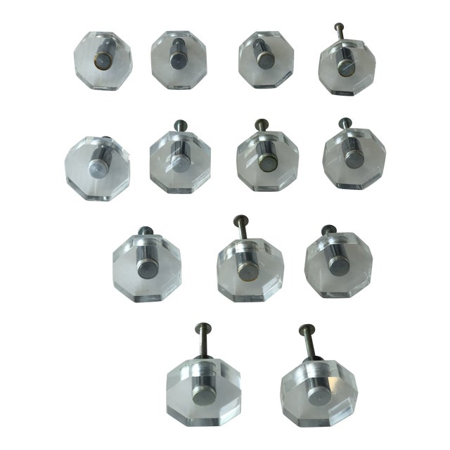 Vintage Lucite Hexagonal Knobs - Group of 13 For Sale
