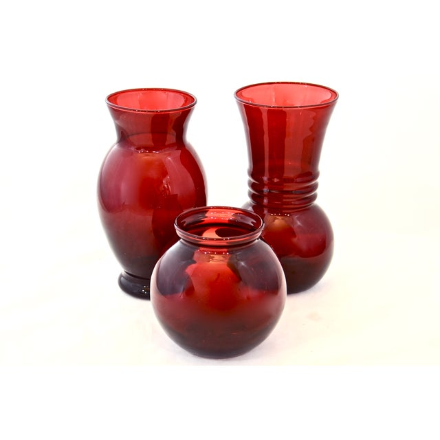 Ruby Red Vases - Set of 3 - Image 2 of 6