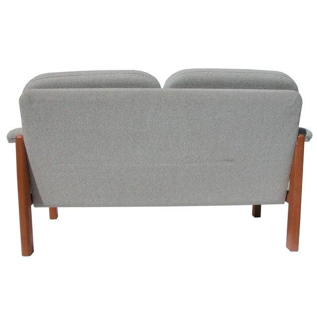 Danish Modern Vintage Scandinavian Grey Fabric Settee For Sale - Image 3 of 5