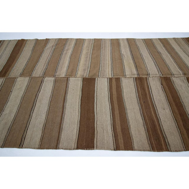 Contemporary 1960s Vintage Brown Striped Kars Wool Kilim Rug- 5′10″ × 11′7″ For Sale - Image 3 of 7