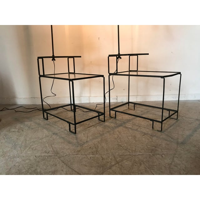 Mid-Century Wrought Iron Table & Lamp Combo in the Style of Weinberg, McCobb For Sale - Image 10 of 13