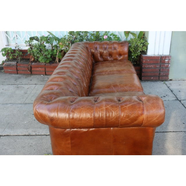 Modern Distressed Leather Tufted Chesterfield Sofa For Sale - Image 10 of 13