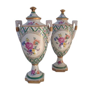 Floral Porcelain Urns - A Pair For Sale