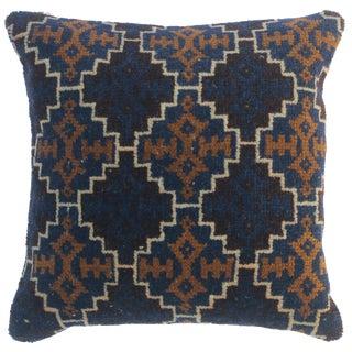 "Shanon Blue/Brown Antique Kilim Handmade Throw Pillow(18""x18"") For Sale"