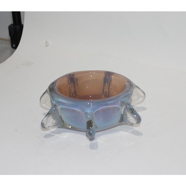 Glass Murano Opaline Pinched Glass Bowl in Blue and Amber Tones Mid-Century Modern Italian 1960s For Sale - Image 7 of 10