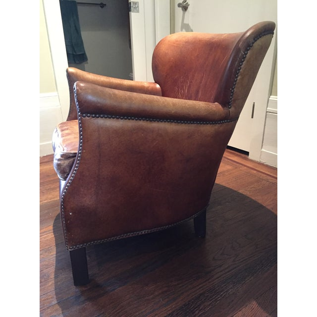 Restoration Hardware Restoration Hardware Professor's Leather Chair For Sale - Image 4 of 4