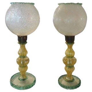 1940s Barovier Attributed Green and Gold Murano Glass Lamps - a Pair For Sale