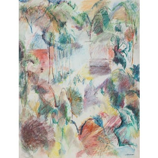 Jack Freeman Colorful Abstracted Landscape in Pastel, 1980 1980 For Sale