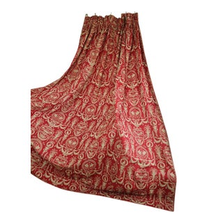 Antique 1870s French Red Toile Curtain Drape Bed Hanging For Sale