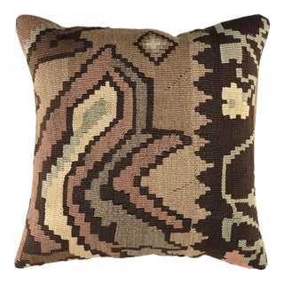 "Botanicals in Brown Vintage Kilim Pillow | 16"" For Sale"