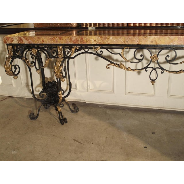 1920's French Forged Iron and Marble Console Table For Sale - Image 10 of 13