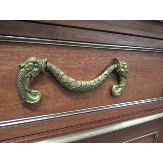 Bronze Pair of French Louis XIV Style Marble Top Dressers Commodes For Sale - Image 7 of 9