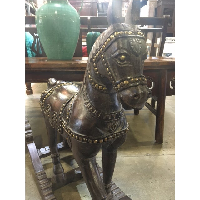 Vintage Wood and Brass Rocking Horse - Image 6 of 6