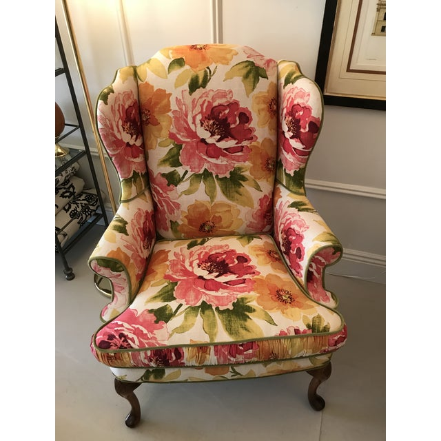 Cottage Floral Linen Wing Chairs - A Pair For Sale - Image 3 of 8