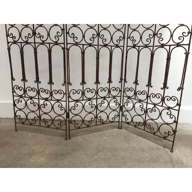 Arts & Crafts Hand-Forged Iron Three Panels Folding Moorish Screen For Sale - Image 3 of 9
